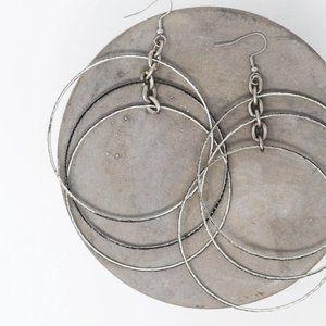 Twisted Silver KISS Hoop Earrings
